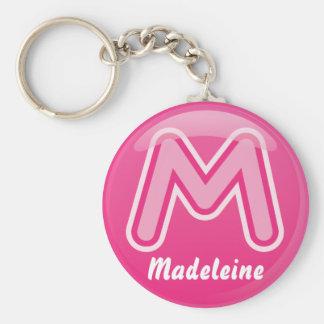 De Roze Bel van de Brief M van Keychain Sleutelhanger