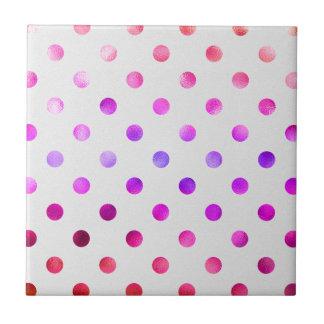 De roze Blauwe Polka van de Folie Faux van de Keramisch Tegeltje