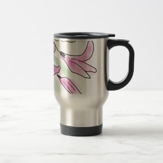 De roze Bloei van de Bloem van de Lelie - Hand Reisbeker