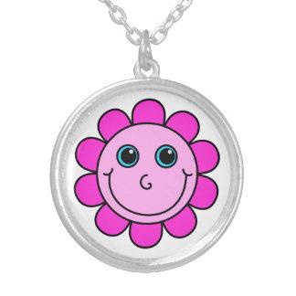 De roze Bloem van het Gezicht Smiley Ketting Rond Hangertje