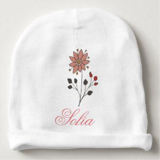 De roze bloem van het krabbelmadeliefje baby mutsje