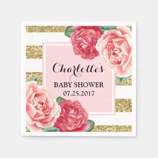 De roze Bloemen blozen het Gouden Baby shower van Wegwerp Servetten
