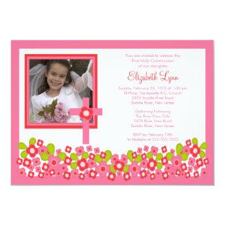 De roze Bloemen Dwars Eerste Heilige Communie Kaart