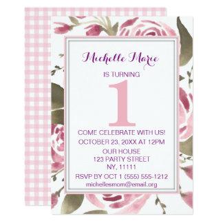 De roze Bloemen Eerste Verjaardag van de Plaid 12,7x17,8 Uitnodiging Kaart