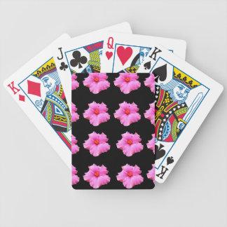 De roze Bloemen van de Hibiscus op Zwarte, _ Pak Kaarten