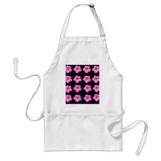 De roze Bloemen van de Hibiscus op Zwarte, _ Standaard Schort