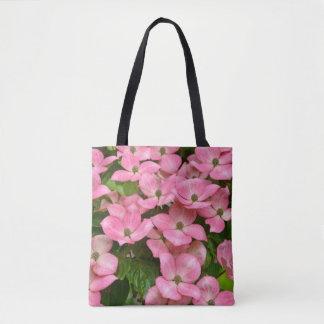 De roze bloemen van de kousakornoelje draagtas