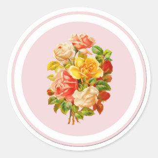 De roze Bloemen Vintage Rozen van de Regeling Ronde Sticker