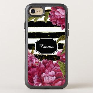 De roze Bloemen Zwarte Witte Streep van de Pioen OtterBox Symmetry iPhone 8/7 Hoesje