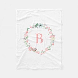De roze BloemenKroon van het Monogram Fleece Deken