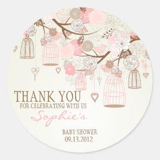 De roze BloemenSticker van het Baby shower Vintage Ronde Sticker