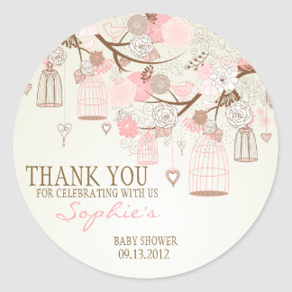 De roze BloemenSticker van het Baby shower Vintage Ronde Stickers