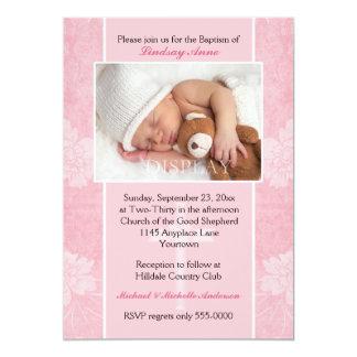De roze BloemenUitnodiging van de Foto van het 12,7x17,8 Uitnodiging Kaart