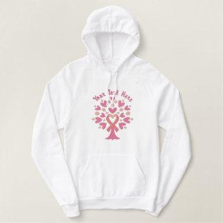 De roze Boom van het Lint Geborduurde Sweater Hoodie