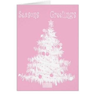 De roze Boom van Kerstmis Briefkaarten 0