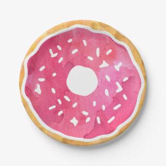 De roze Borden van het Document van de Doughnut Papieren Bordje