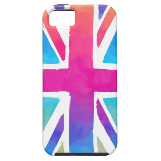 De roze Britse Vlag van de Waterverf van de Tough iPhone 5 Hoesje