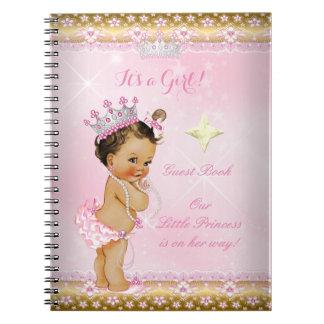 De Roze Brunette van het Baby shower van de Ringband Notitieboek