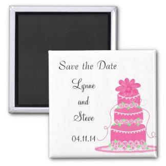 De roze Cake van het Huwelijk bewaart de Datum Vierkante Magneet