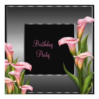 De roze Calla Partij van de Verjaardag van de 13,3x13,3 Vierkante Uitnodiging Kaart