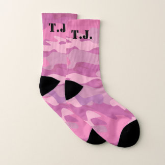 De roze camouflage met monogram van het camoleger sokken