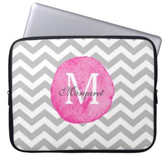 De roze Chevron van de Waterverf personaliseert Laptop Sleeve