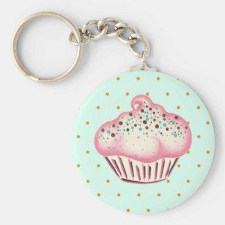 De roze Chocolade Cupcake Keychain van de Munt Basic Ronde Button Sleutelhanger
