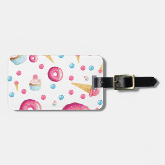 De roze Collage van de Doughnut Kofferlabel