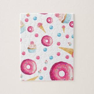 De roze Collage van de Doughnut Legpuzzel