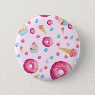De roze Collage van de Doughnut Ronde Button 5,7 Cm