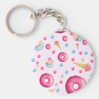 De roze Collage van de Doughnut Sleutelhanger