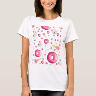 De roze Collage van de Doughnut T Shirt