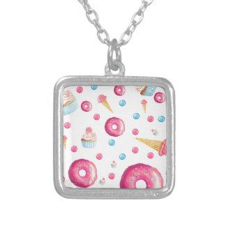 De roze Collage van de Doughnut Zilver Vergulden Ketting