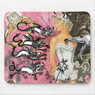 De roze Collage van het stootkussen van de Muis Muismat
