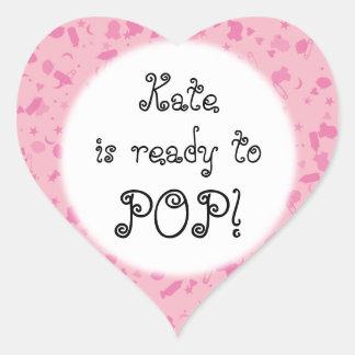 De Roze Confettien van het baby Klaar TE KNALLEN! Hartvormige Stickers