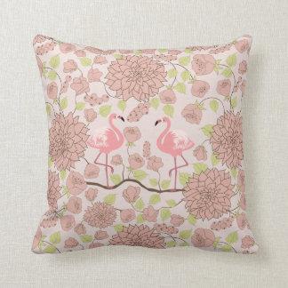 De roze dahlia, flamingopatroon werpt hoofdkussen sierkussen