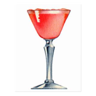 De Roze Dame van de vintage van de Kitsch Cocktail Briefkaart