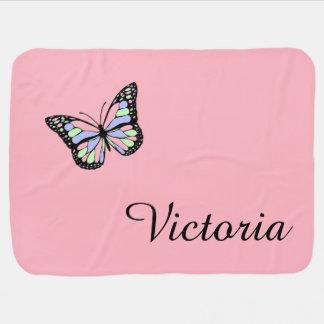 De roze Deken van het Baby van de Vlinder van de Inbakerdoek