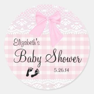 De roze Douche van het Baby van het Afbeelding van Ronde Sticker
