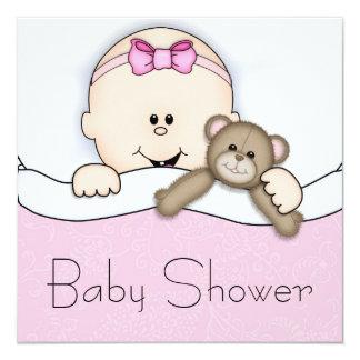 De roze Douche van het Meisje van het Baby van de 13,3x13,3 Vierkante Uitnodiging Kaart