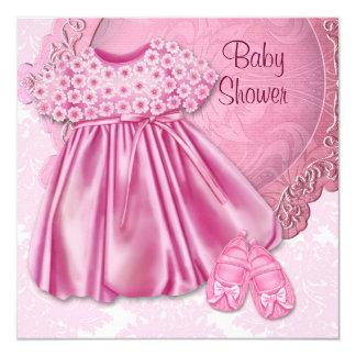 De roze Douche van het Meisje van het Baby van het 13,3x13,3 Vierkante Uitnodiging Kaart
