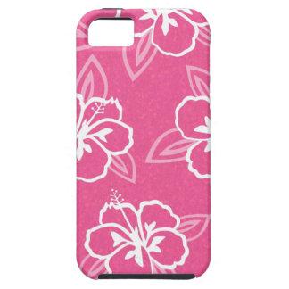 De roze Druk van de Bloem van de Hibiscus Tough iPhone 5 Hoesje