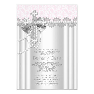 De roze Dwars Eerste Heilige Communie van het Kant 12,7x17,8 Uitnodiging Kaart