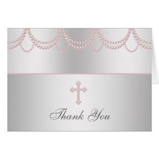 De roze DwarsMeisjes Cristening van de Parel danke Kaart