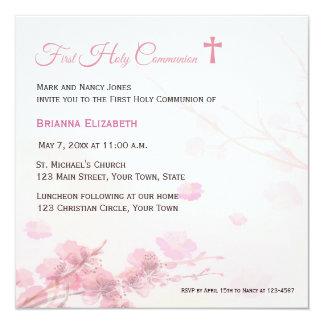 De roze Eerste Heilige Communie van de Bloesems 13,3x13,3 Vierkante Uitnodiging Kaart