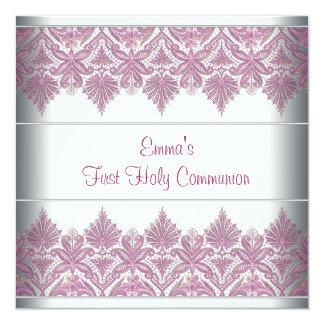 De roze Eerste Heilige Communie van de Meisjes van 13,3x13,3 Vierkante Uitnodiging Kaart