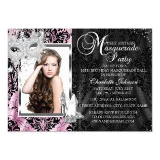 De roze Elegante Foto Sweet16 van het Masker & van 12,7x17,8 Uitnodiging Kaart