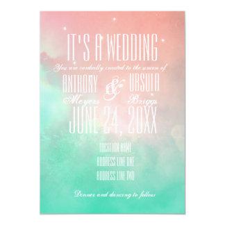 De roze en Blauwe KustUitnodiging van het Huwelijk 12,7x17,8 Uitnodiging Kaart
