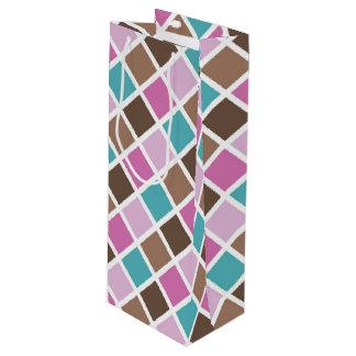 De roze en Blauwe Vierkanten van het Meisje van Wijn Cadeautas