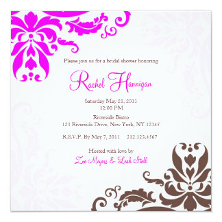 De roze en Bruine Uitnodiging van het